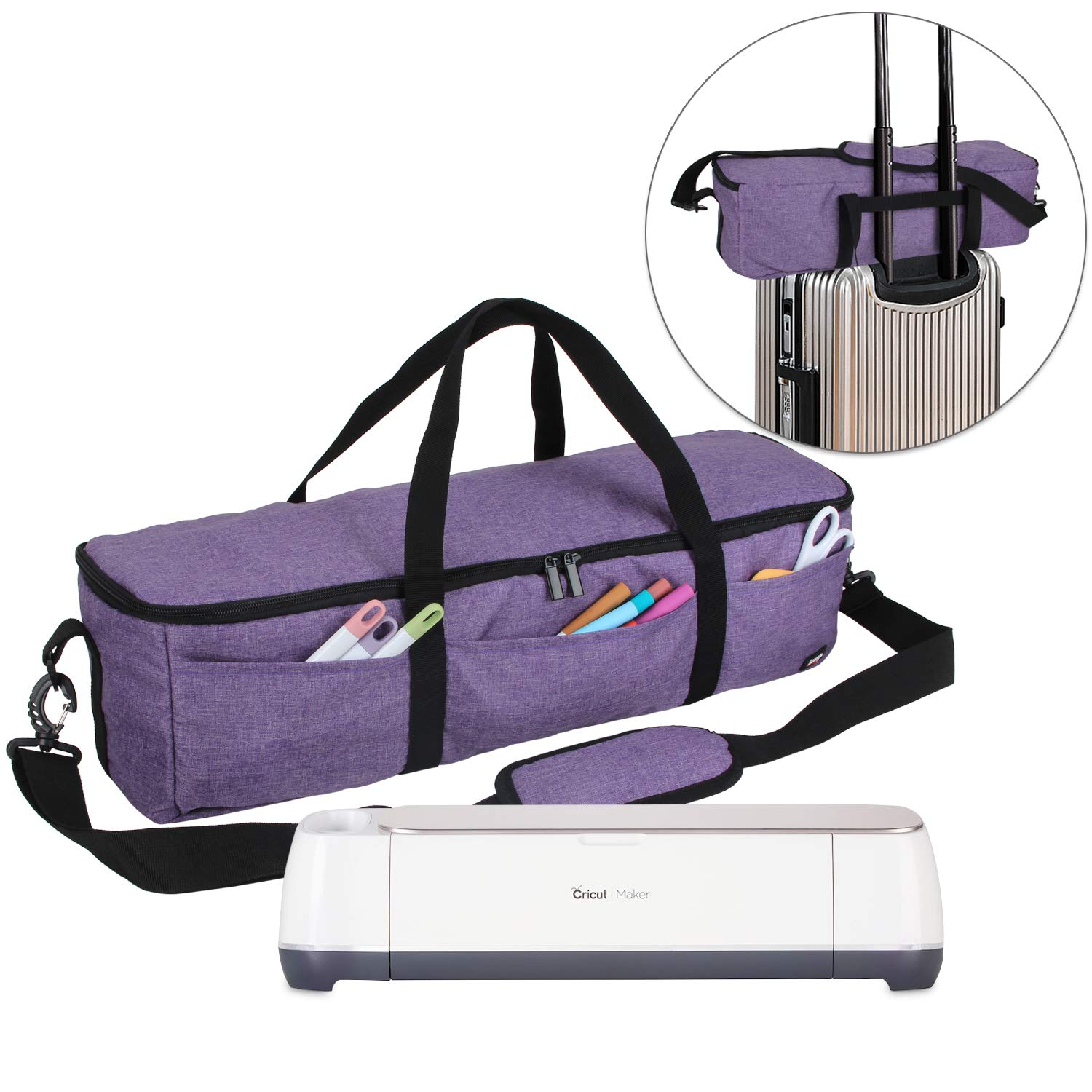 Luxja Foldable Bag Compatible with Cricut Explore Air and Maker, Carrying Bag Compatible with Cricut Explore Air and Supplies (Bag Only), Purple