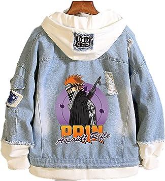 ユニセックスナルトデニムパーカージャケットアニメジーンズコート男性女性ユースフード付きカジュアルコスチュームジャンパースウェットスポーツウェア