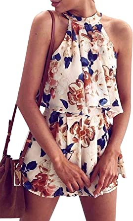 Summer Two Piece Set Women Floral Crop Top Shorts Outfit Jumpsuit Sleeveless