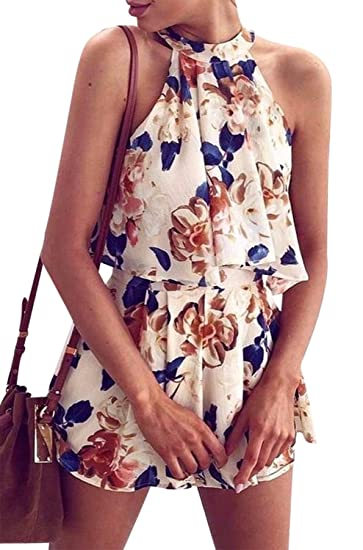 66bea912d843 Amazon.com  Summer 2 Pieces Outfits Women Halter Top Shorts Set Floral  Print Short Rompers Jumpsuits  Clothing