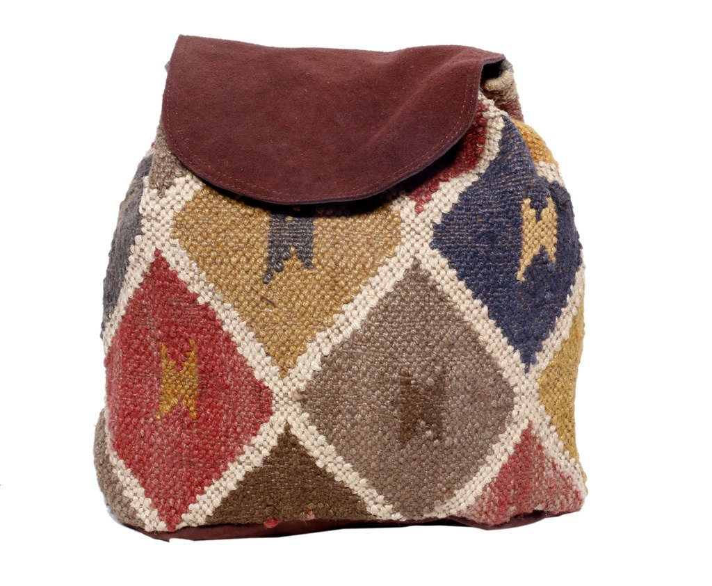 Indistar Women's Vintage Handmade Ethnic Kilim and Leather Back Pack Bag by Indistar (Image #2)