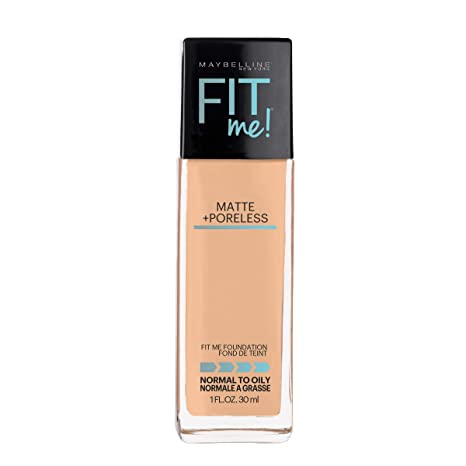 Maybelline Fit Me Matte + Poreless Liquid Foundation Makeup, Natural Beige, 1 fl. oz. Oil-Free Foundation