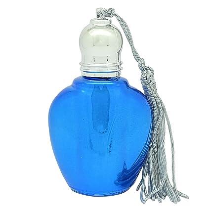 2 piezas al por mayor Perfume rellenable azul cristal roll-on botellas de vidrio vacías