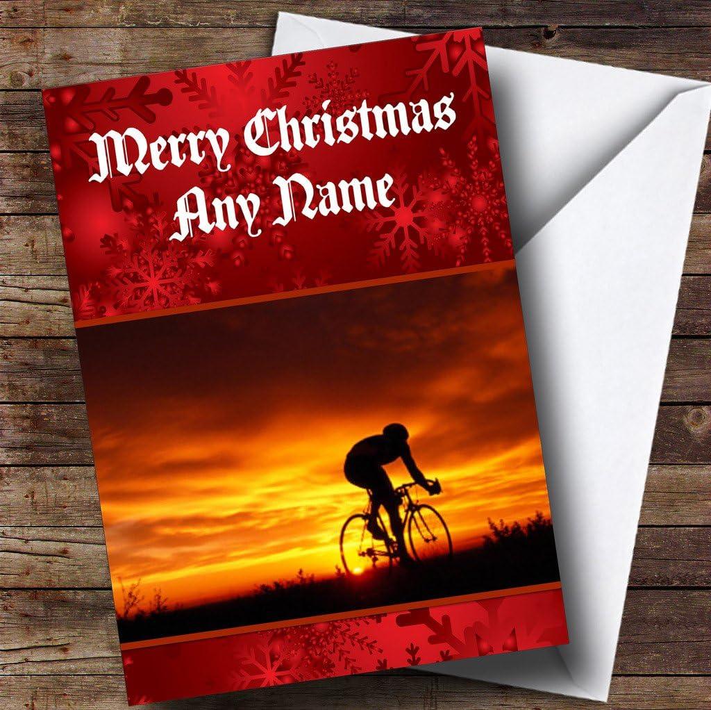 Ciclismo bicicleta/tarjeta de Navidad – personalizada FREEPOST ...