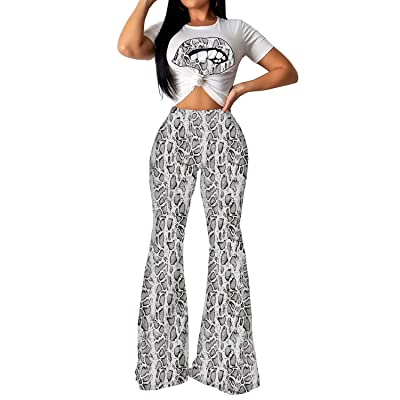 Aelidiya Women's Flared Bell Bottom Pants Snakeskin Print T Shirt Two Piece Set at Amazon Women's Clothing store