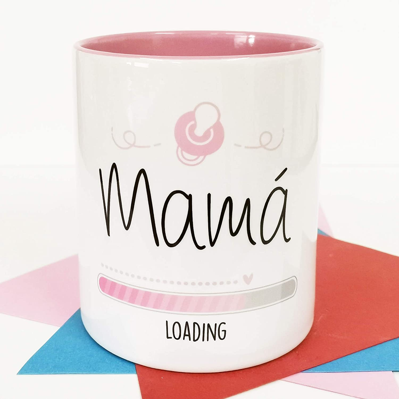 La Mente es Maravillosa - Taza con frase y dibujo divertido (Mamá loading) Regalo original para FUTURA MAMÁ