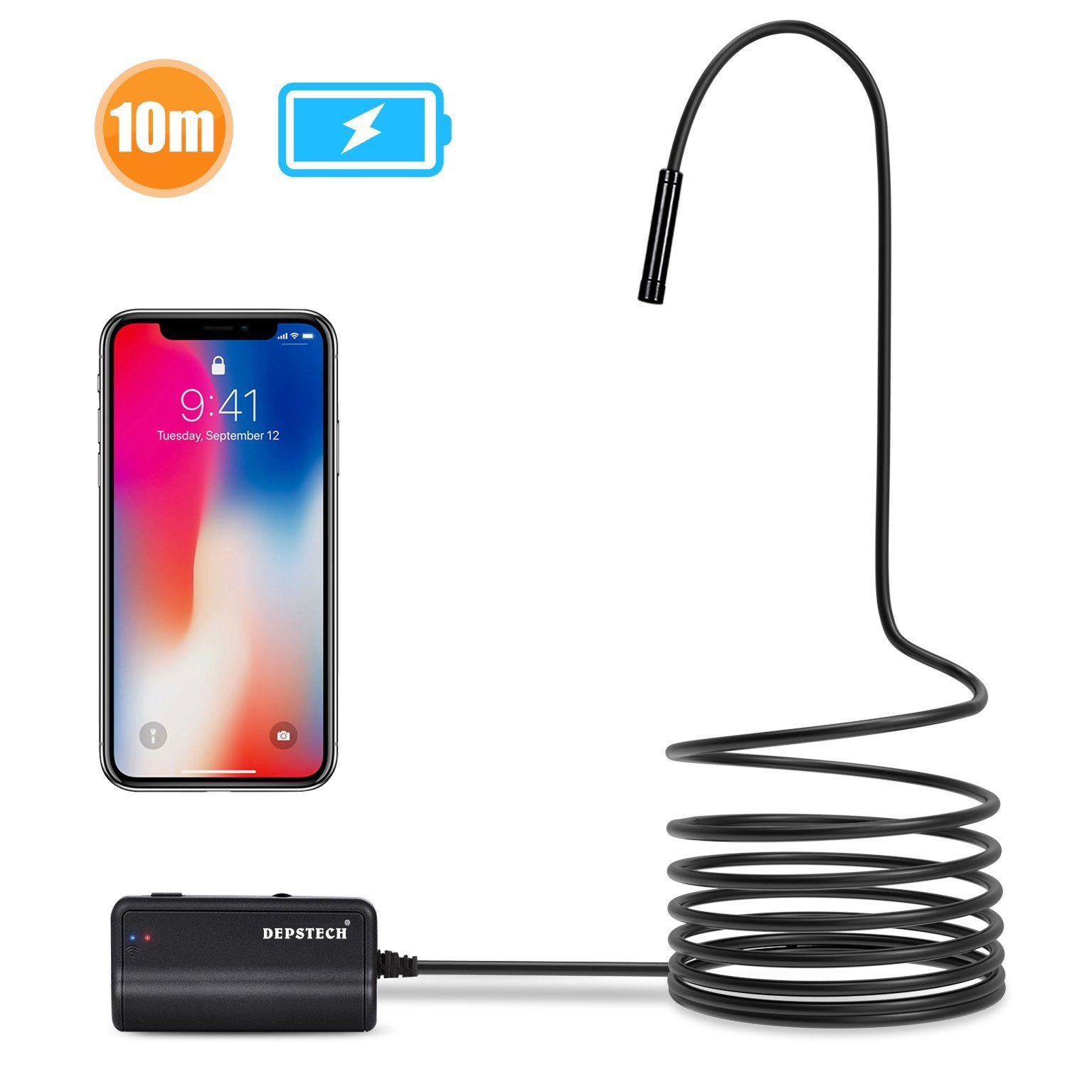 Depstech 1200P Semi-rigid Wireless Endoscope, 2.0 MP HD WiFi Borescope Inspection Camera,16 inch Focal Distance & 1800mAh Battery Snake Camera for Android & IOS Smartphone Tablet - Black 33FT by Depstech
