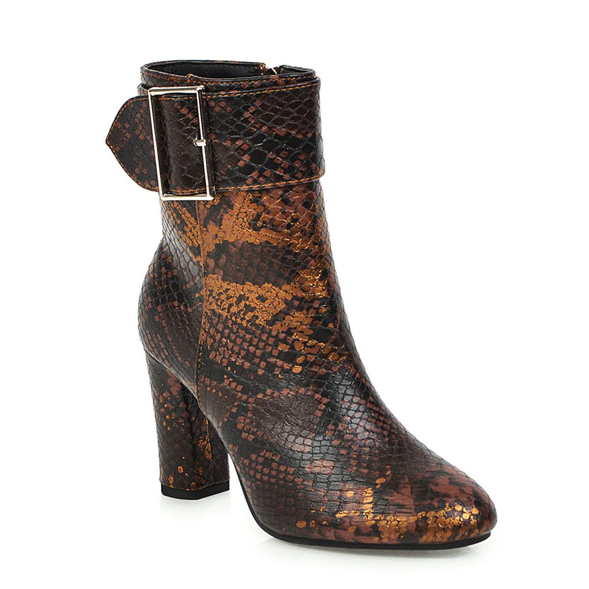 Thenxin Women's Ankle Chelsea Boots Snakeskin Side Zipper High-Heeled Bootie with Buckle Strap(Brown,8.5) by Thenxin-shoes