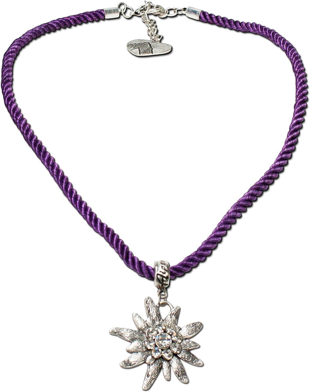 Alpenflüstern - Collar con cordón con flor tirolesa con Strass para dama, para traje tradicional bávaro en colores tradicionales DHK100