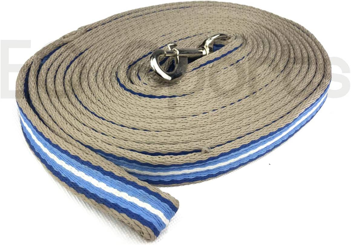 Knight Rider Quality Padded Cushion Lunge Line//Rein With Handle Black//Blue//White
