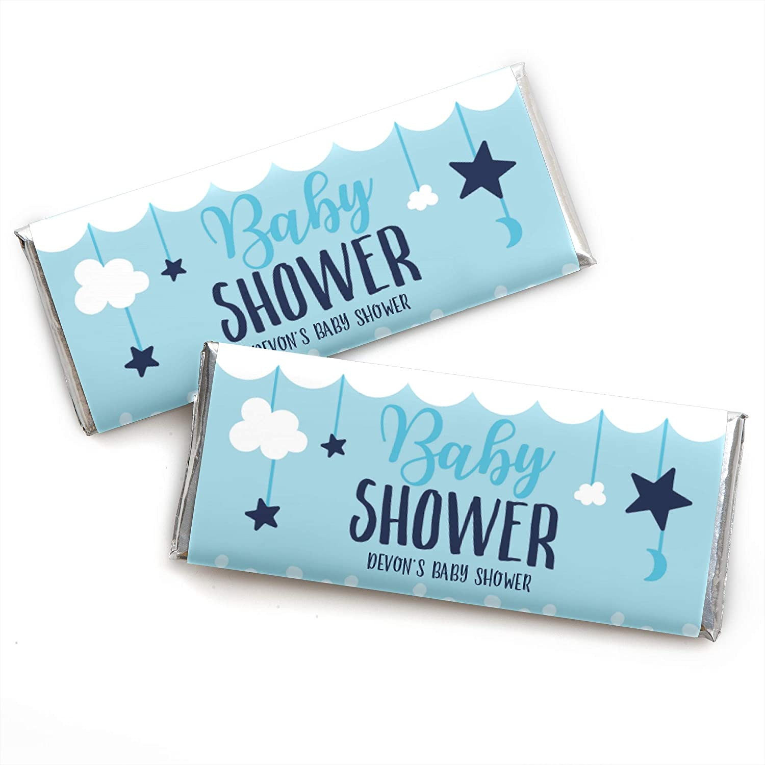 12 x Personalised Wrappers Chocolate Bars Baby Shower Favours Baby Blue