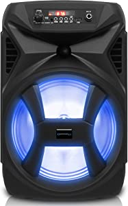 Technical Pro 500 Watts Portable 8 Inch Bluetooth Speaker with Woofer & Tweeter - Festival PA LED Speaker with Bluetooth/USB Card Inputs, & True Wireless Stereo (Black)
