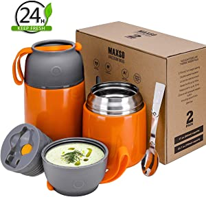 2 Pack Vacuum Insulated Food Jar Hot Food Containers for Lunch School Soup Thermos For Kids,Travel Food Flask Hot Cold (24oz,17oz) (Orange)