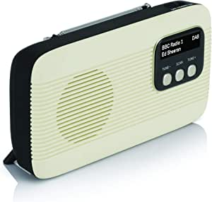 Lava Akoni 2 – DAB+ Digital & AM/FM Portable Radio with Bluetooth and Built-in Rechargeable Battery with Auto-Scan, LCD Screen, Headphone Jack - Retro Design