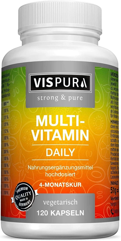 VISPURA® Multivitaminas Completo en Dosis Altas, 13 Vitaminas A, B, C, D, E, K, sin Yodo, 120 Cápsulas Vegetales para 4 Meses, Suplemento sin Aditivos Innecesarios, Calidad Alemana
