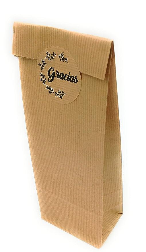50 Bolsas Kraft con etiqueta de cierre Gracias (texto en ...
