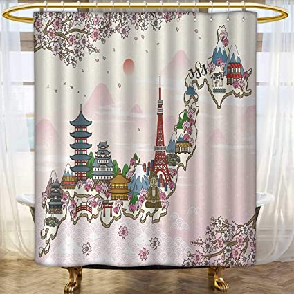 Japanese Shower Curtains Sets Bathroom Japan Travel Poster With Sakura Tree Branches Blossoms Asian Journey Destination