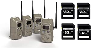 Cuddeback 11445 CuddeLink J Series Black Flash Trail Camera (4 Pack) with 4 SD 32 GB Cards (5 Items)