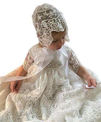 Dressvip Spitze Taufkleider für Baby Girls mit Mütze Taufe Kleider ...