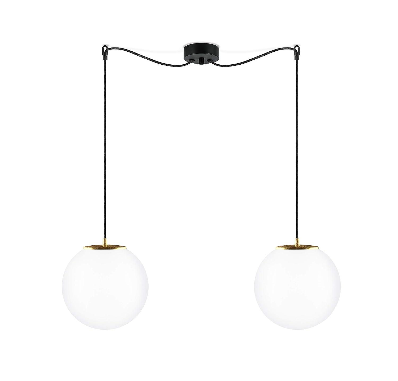 Sotto Luce Tsuki M 2/S Lámpara Colgante de 2 Luces con 2 Pantallas de Vidrio Opalino, Cables Textiles y 2 Portalámparas E27, Bolas de Cristal de Estilo ...