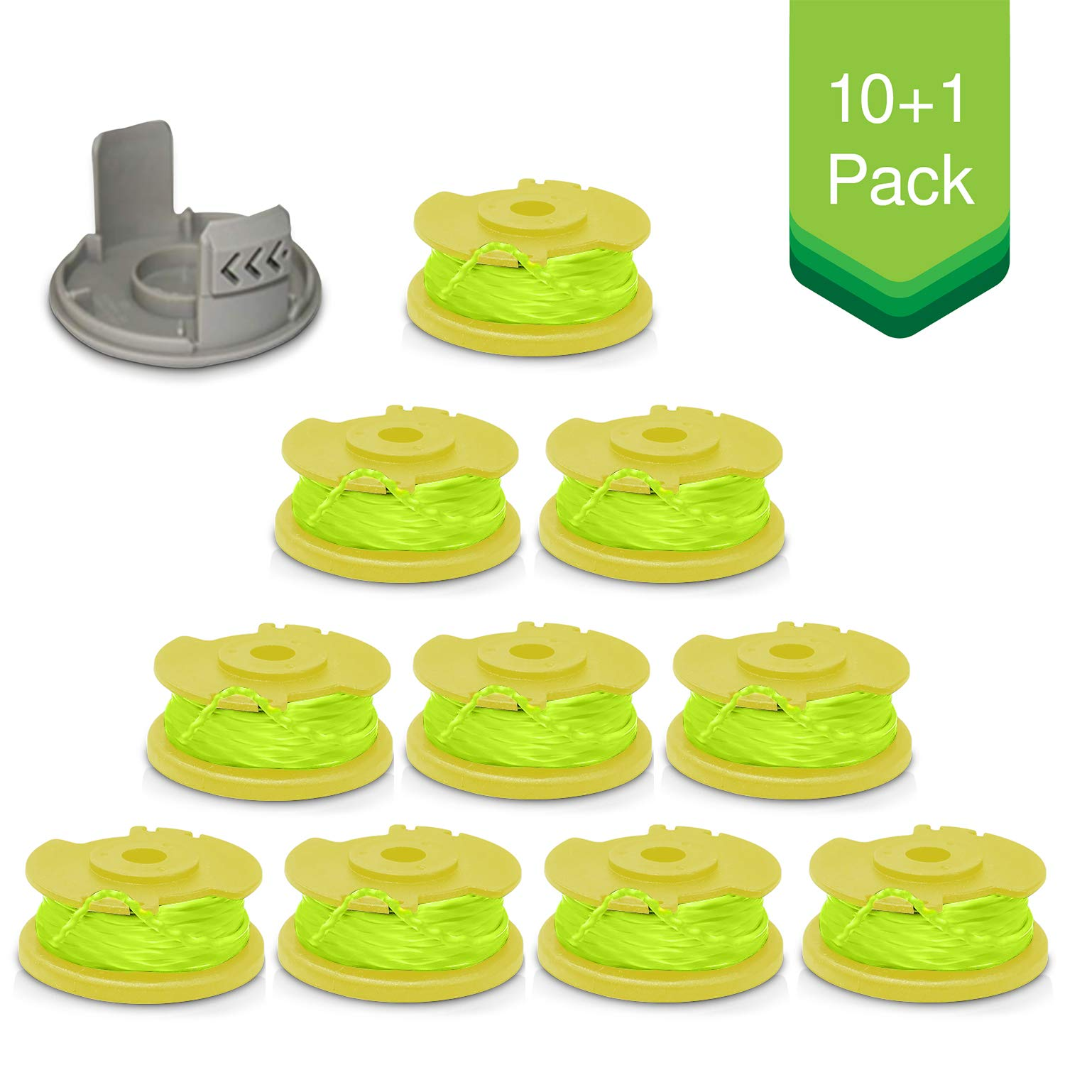Lites 11ft .08'' String Trimmer Replacement Spool for Ryobi One Plus AC80RL3 18V 24V 40V Auto Feed Cordless Weed Eater Spools Line with AC14HCA Cap Covers Parts (10 Spools, 1 Cap) by Lites