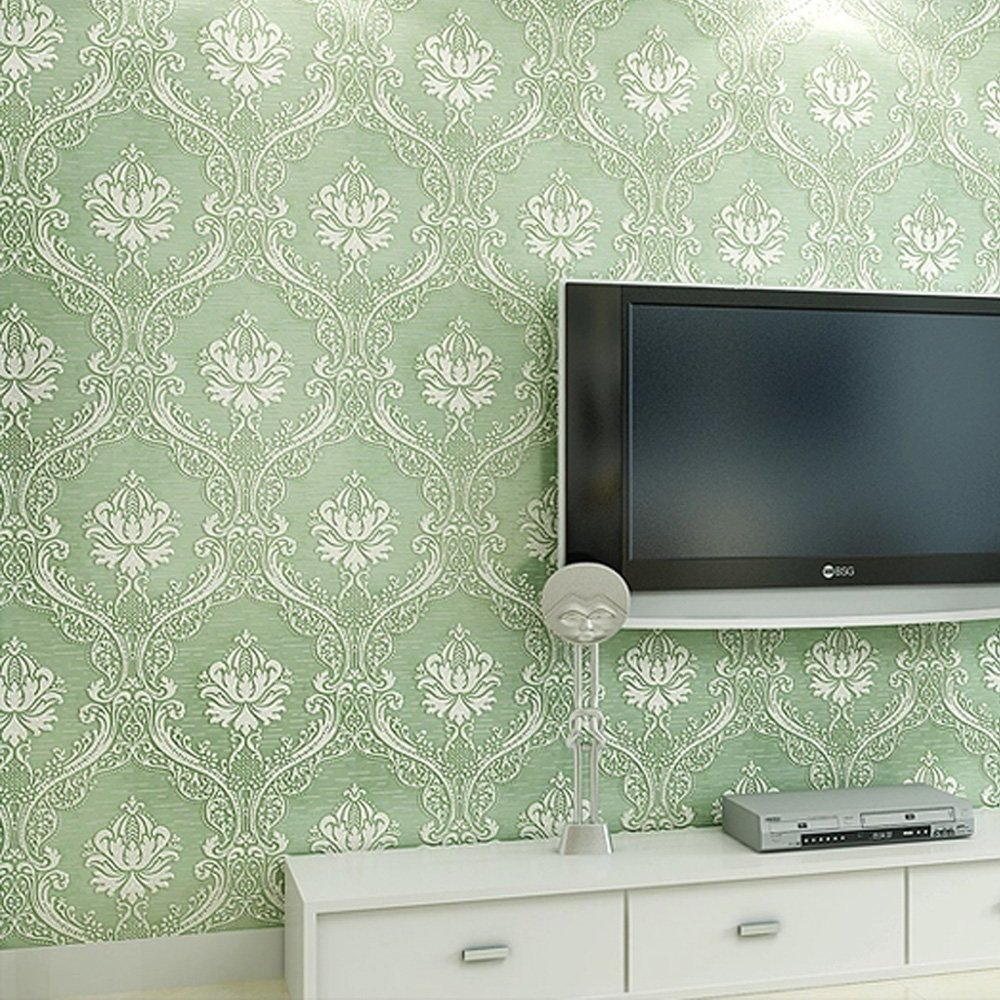 SimpleLife4U Luxury Green 3D Embossed Damask Non Woven Fabric Wall Sticker Home Room Decal,20.8-Inches by 13-Feet