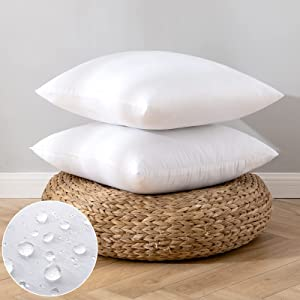 EMEMA Pack of 2 Outdoor Pillow Inserts Waterproof Throw Pillow Premium Fluffy Decorative Cushion Square Inner Soft for Patio Furniture Garden Sleeping Bed Couch Sofa Bedroom 16x16 Inch 40x40 cm