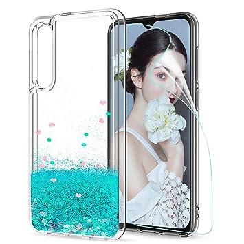 LeYi Funda Xiaomi Mi 9 SE / Mi9 SE Silicona Purpurina Carcasa con HD Protectores de Pantalla Transparente Cristal Bumper Telefono Gel TPU Fundas Case ...