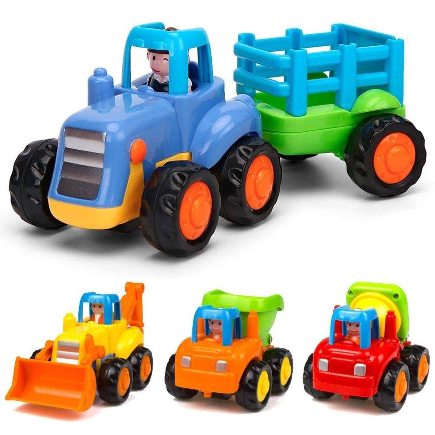 Toys Early Educational Toddler Baby Friction Powered Cars Push and Go Cars Tractor Bulldozer Dumper Cement Mixer Engineering Vehicles for Children Boys Girls Kids Gift