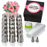 Sweetips 31-Piece Cake and Cupcake Icing Flower Decorating Tool Set Bundle with 18 Russian, 2 Leaf Piping Tips, 10 Pastry Bags and Coupler