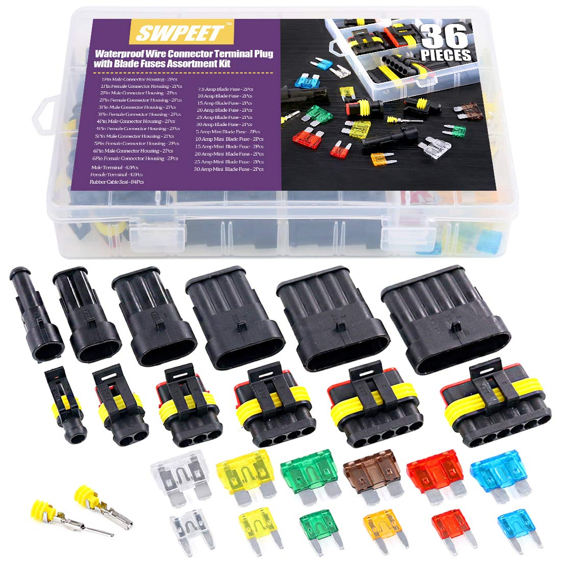 Swpeet 36Pcs Waterproof Electrical Wire Connector Kit, Including 1/2/3/4/5/6 Pin Waterproof Connector Plugs with Automotive Standard Blade Fuse and Mini Blade Fuses for Car Motorcycle Wire Connector