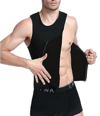 NINGMI Homme Hot Minceur Sweat Gilet en néoprène sauna entraînement Taille  Trainer pour homme Fermeture Éclair 09d885f56dc
