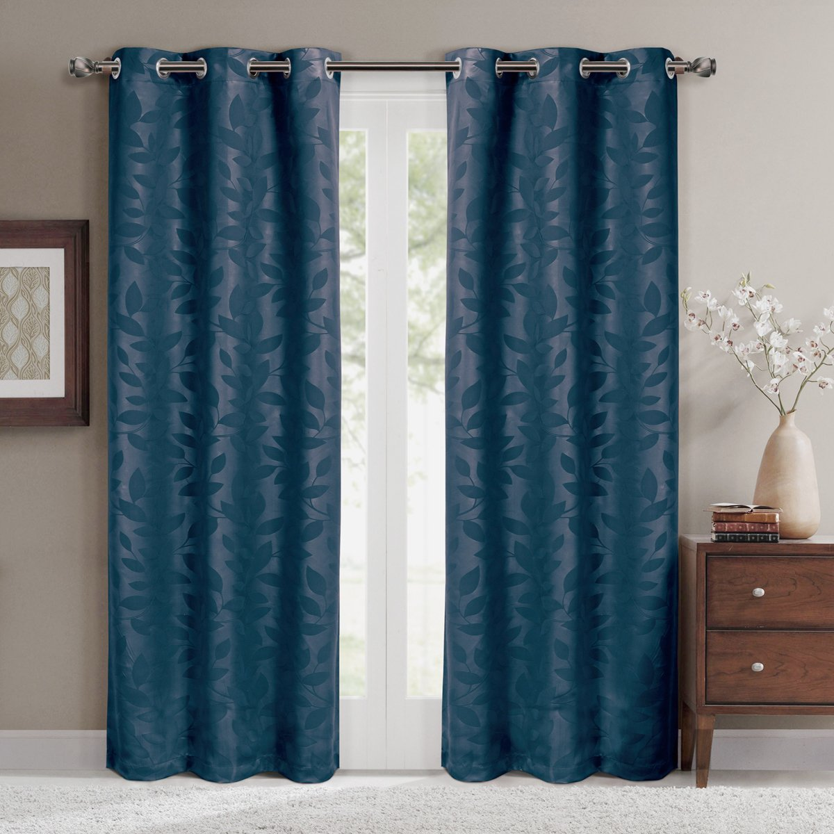 Virginia Navy Grommet Blackout Weave Embossed Window Curtain Panels, Pair / Set of 2 Panels, 37x84 inches Each, by Royal Hotel