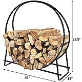 HollyHOME 30 Inch Medium Round Steel Firewood Racks Heavy Duty Holder Log Rack Hoop