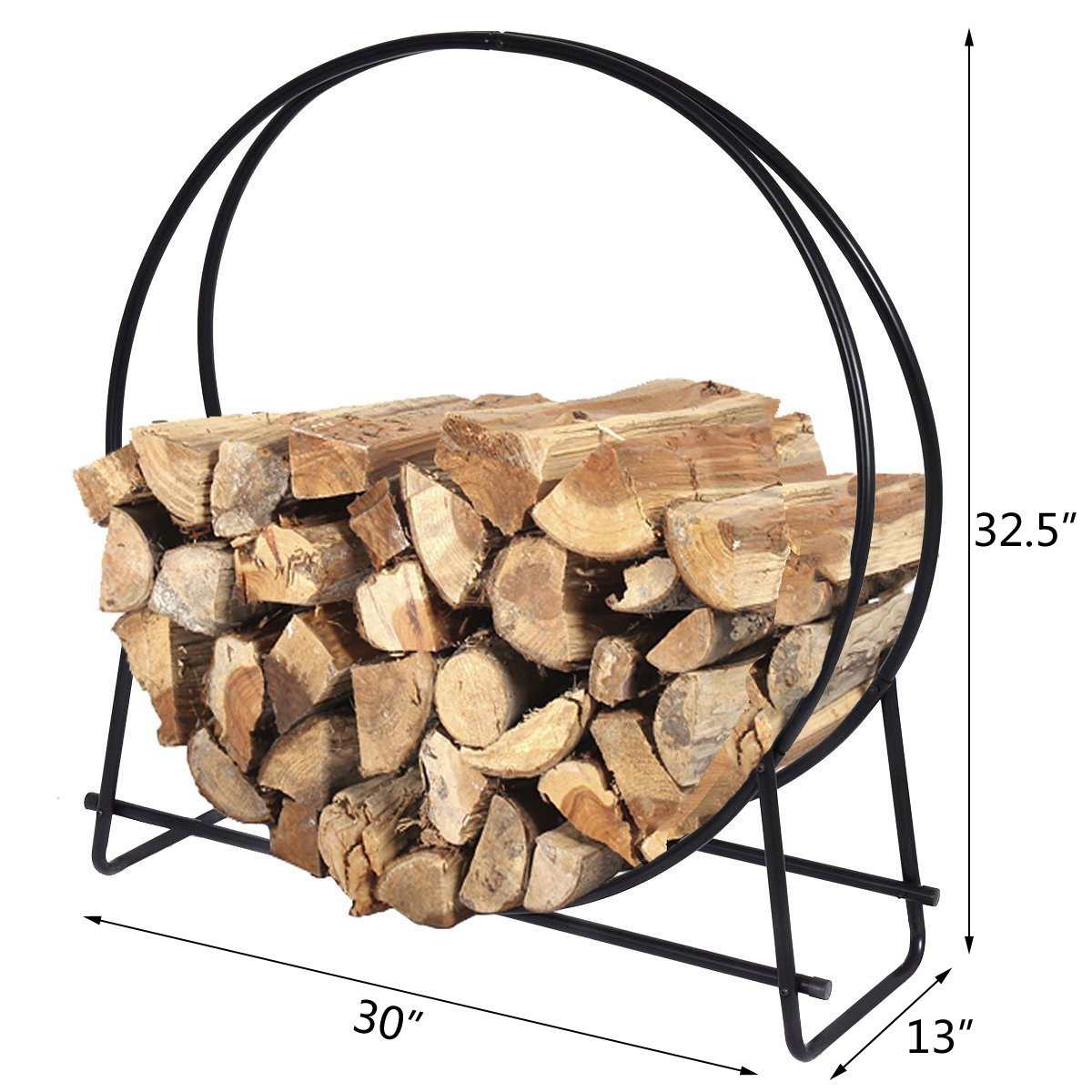 DOEWORKS 30 Inches Medium Round Steel Firewood Racks Heavy Duty Holder Log Rack Hoop by DOEWORKS