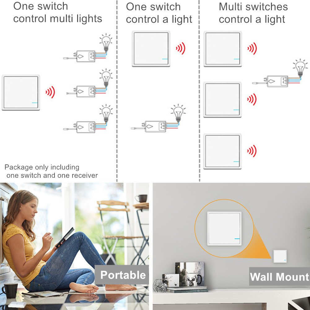 Wsdcam Wireless Light Switch And Receiver Kit Outdoor 1900 Ft Cordless Ceiling Wall With Remote Control Battery Indoors 229 Lamp Led Bulb Ip54 Waterproof