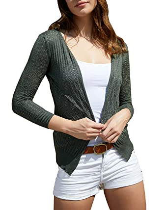 d530032752360b Huiyuzhi Women's Summer Crochet Cardigan Sweaters Lightweight Thin V-Neck  Hollow Long Sleeve Soft Basic