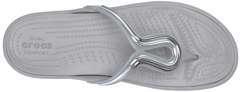 Crocs Womens Sanrah Metal Block Flat Flip Flop