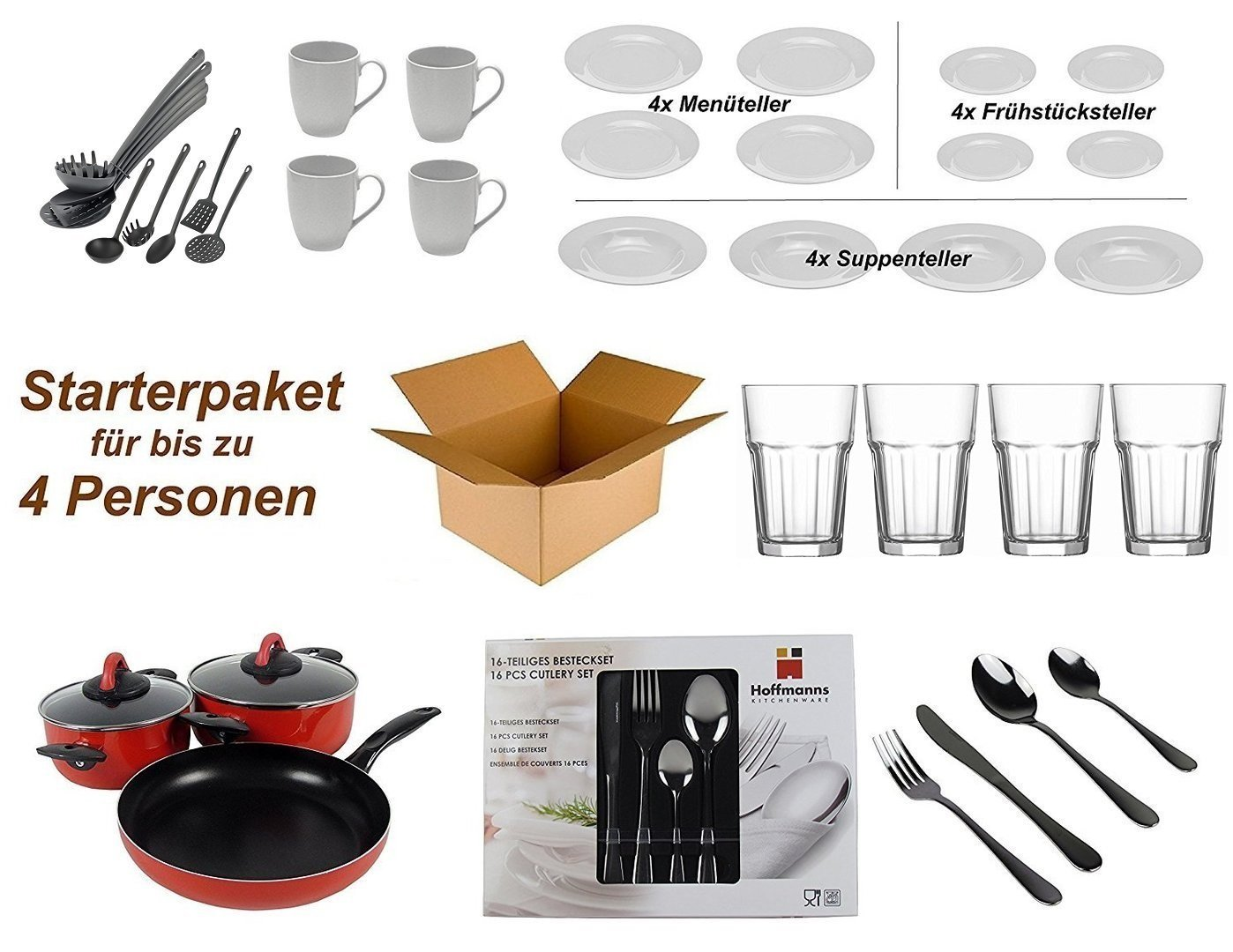Household Home Furnishing Starter Pack for 4 People - Kitchen, Cutlery, Crockery