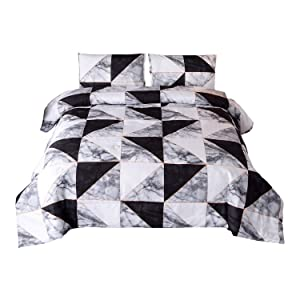 Sisher Bedding Comforter Sets, Marble Bedding Sets Black and White 3pcs Bed Sets Queen Size Quilt with 2 Matching Pillow Shams