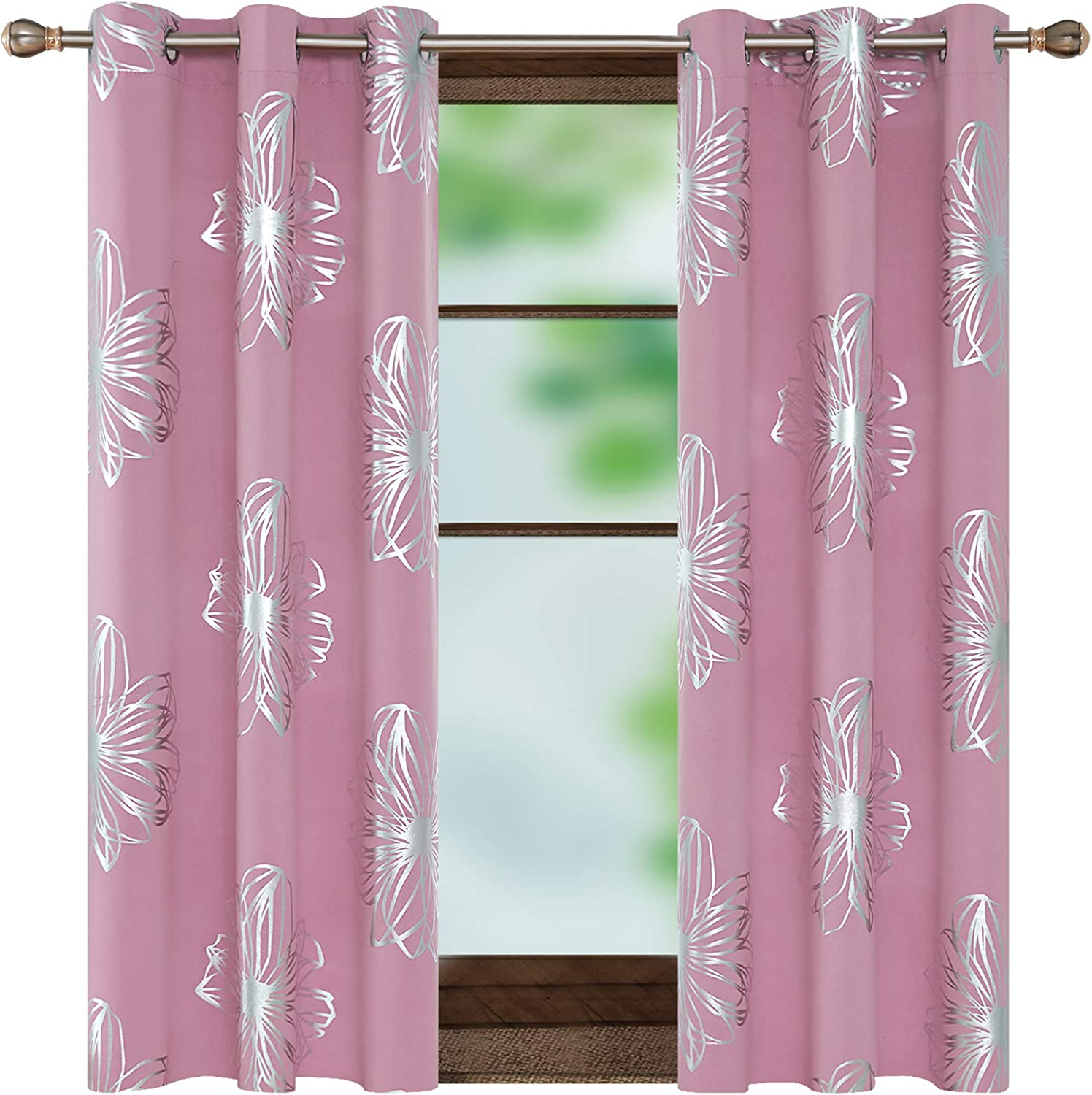 Deconovo Foil Print Floral Thermal Insulated Blackout Curtains Room Darkening Blackout Grommet Top Drapes Window Treatment for Living Room 42W x 54L Inch Pink 1 Pair Pink 42W x 54L Inch