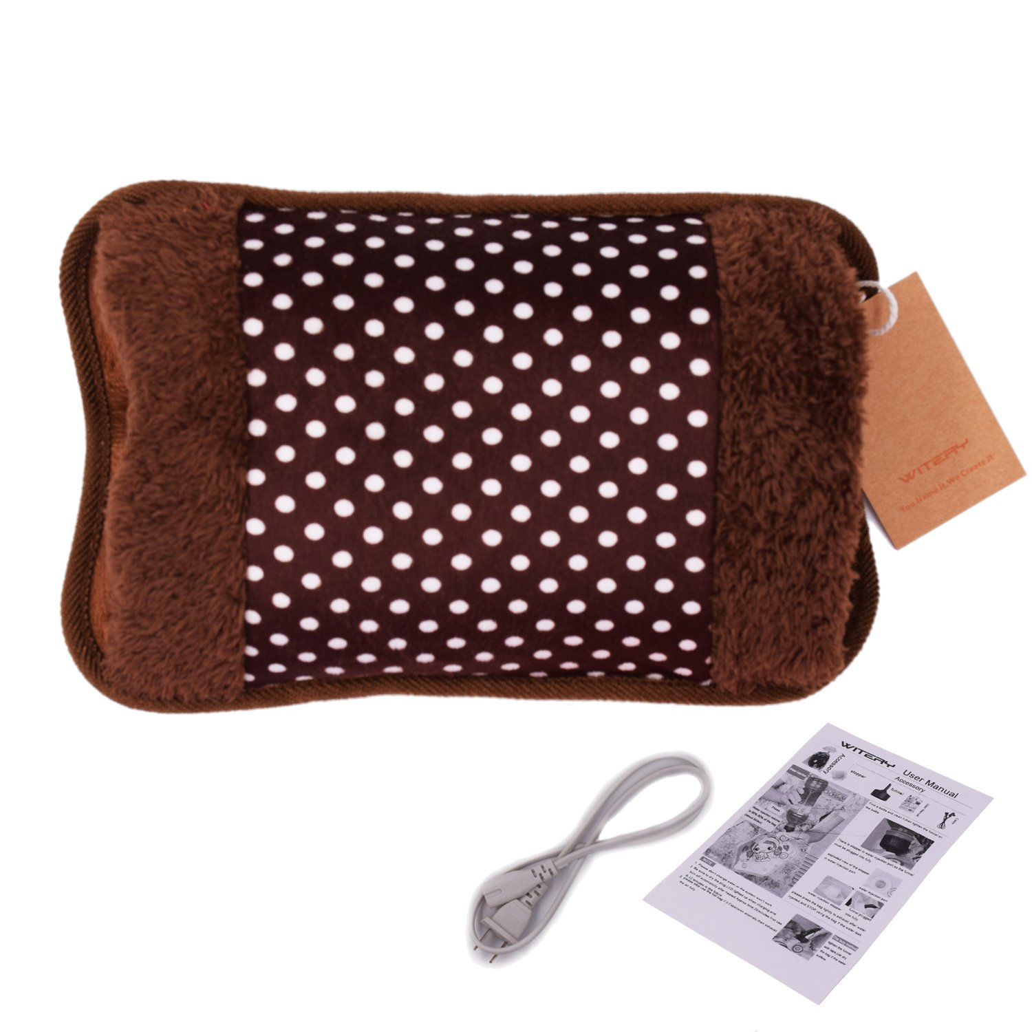 WITERY Hand Warmer - Portable Rechargeable Electric Heat/Hot Water Bag with Soft Velvet Cover - Ideal For Warm Your Hands/Pain Relief/Muscle Relaxation & Comfort Use and As Pillow Coffee