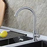 Auralum 360°drehbar Kaltwasser Wasserhahn Spültischarmatur Armatur Küche Spüle NUR für Kaltwasser Anschluss Edelstahl