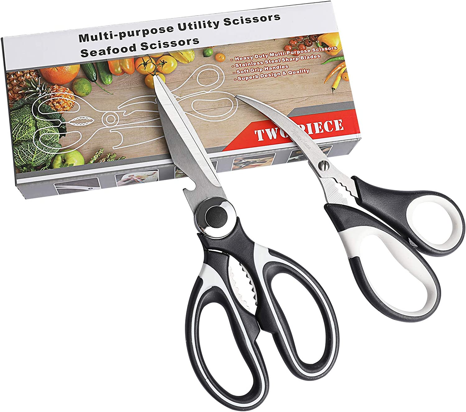 Homyplaza 2Pack Kitchen Scissors Poultry Shears Heavy Duty Stainless Steel Multipurpose Utility Food Meat Vegetable Seafood Crab Scissors