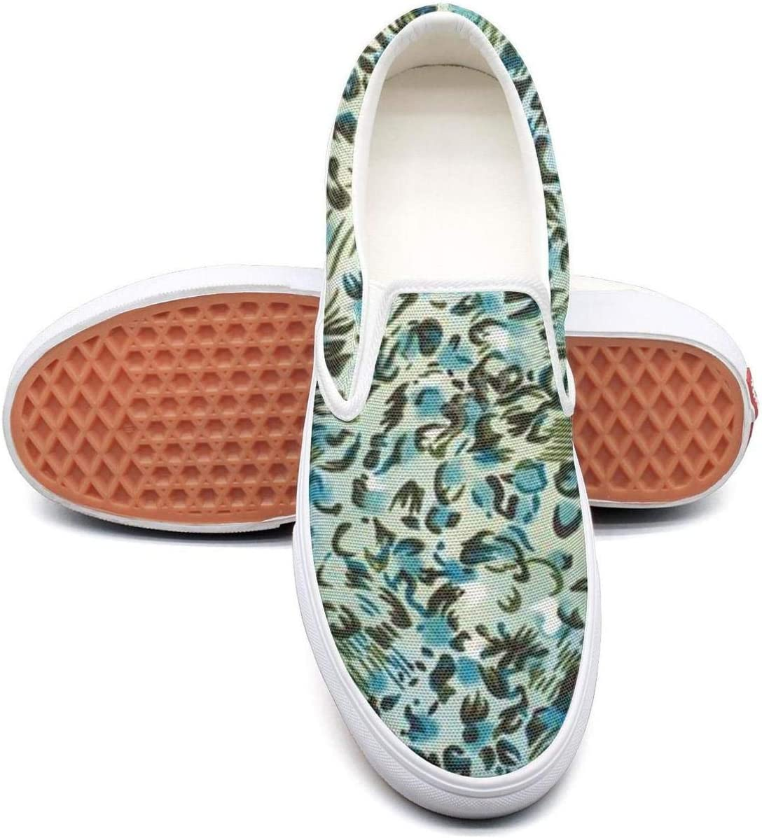 VXCVF Blue and Green Leopard Pattern Man Leisure Shoes Crazy shoefor Mens