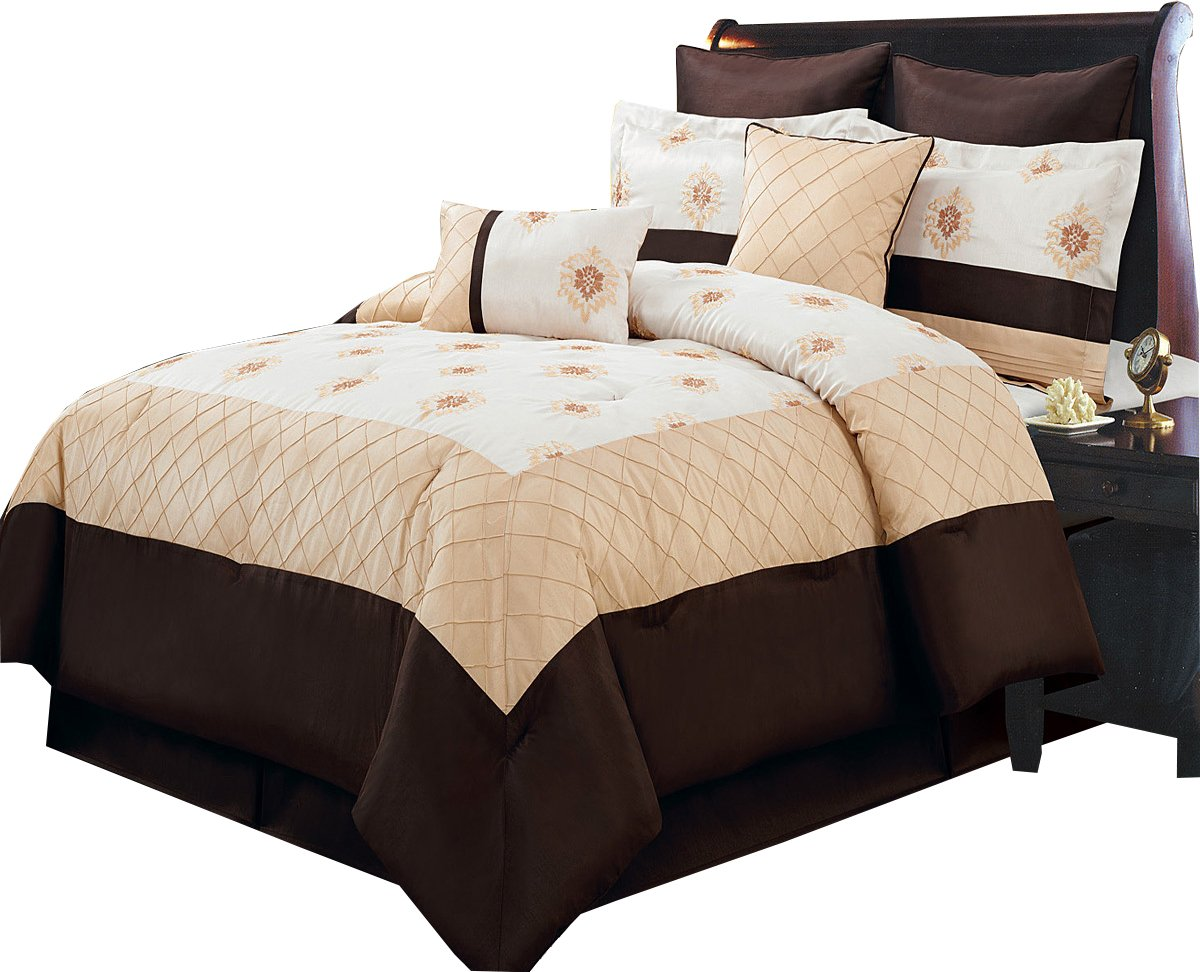 Full Size Luxury 12PC- Madison Gold with Brown Bed in a Bag Set including: comforter,bed skirt,shams, Cushions ans Sheet set
