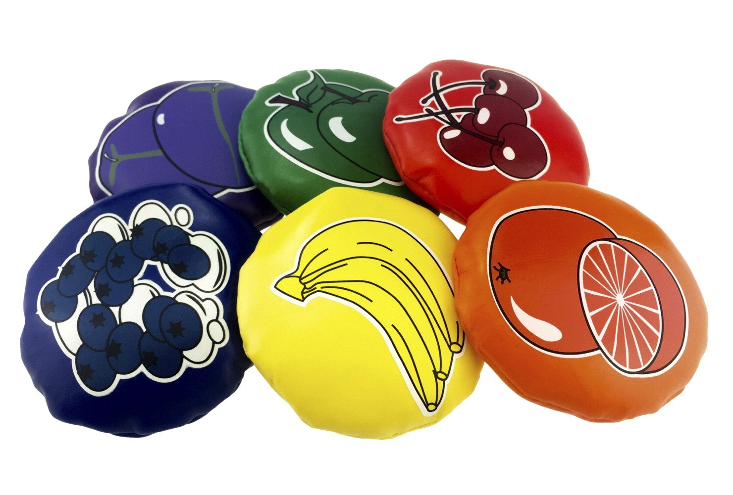 Speech Bin Fruit Salad Round Multilingual Beanbags - 3 inches - Set of 6