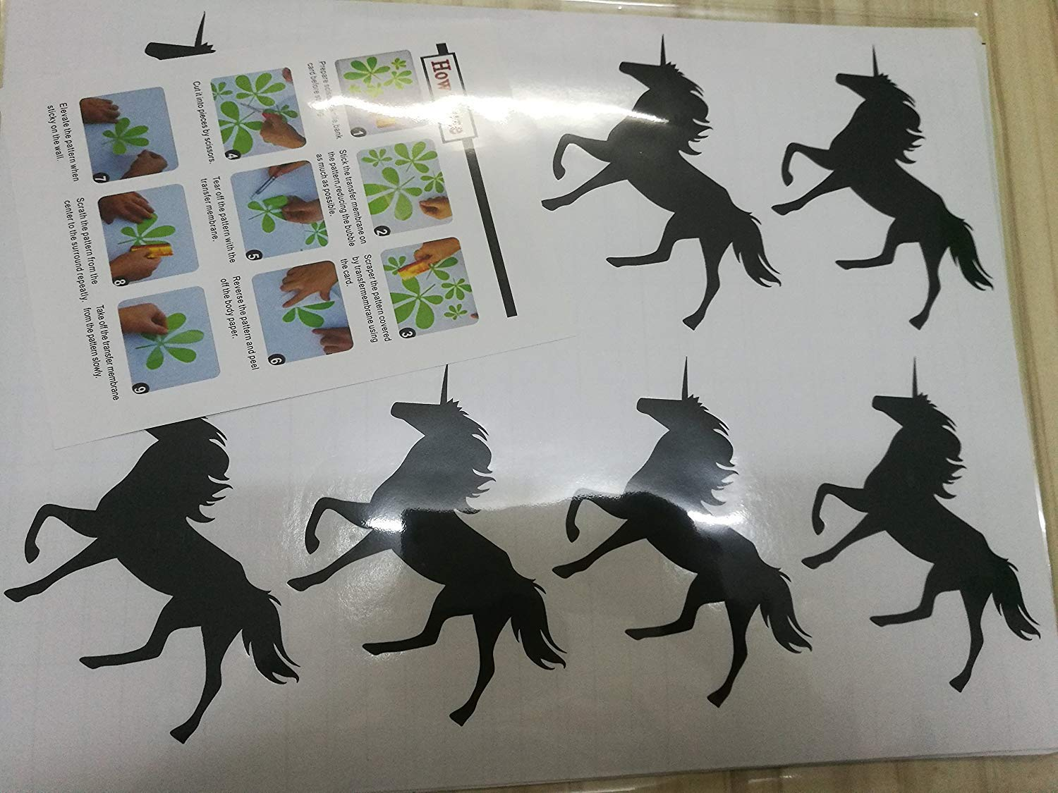 2.7 x 3.9 Each Silver HOMEE Unicorn Wall Stickers 20Pcs Wall Art Decals Home Decor Girls Sticker for Home Living Room Kids Room Nursery Bedroom Decor