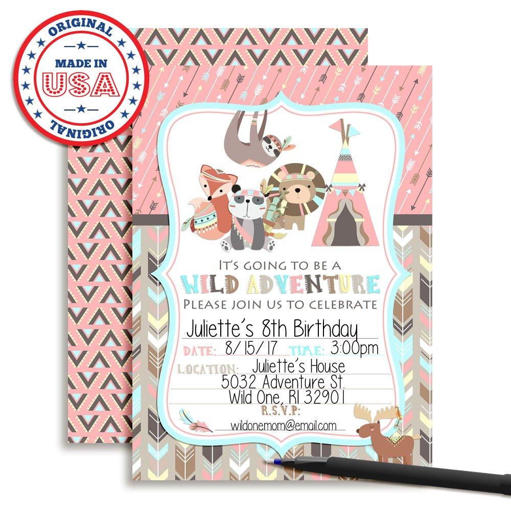 Wild Adventure Tribal Boho Girl Birthday Party Fill in Invitations Set of 20 Amanda Creation