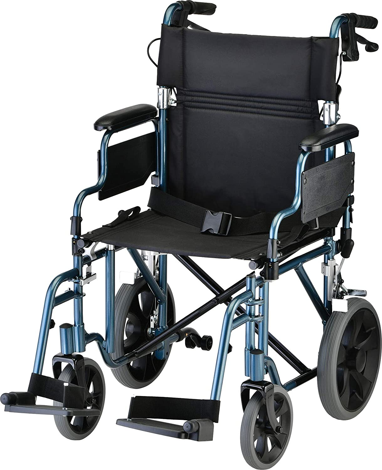 "NOVA Lightweight Transport Chair with Locking Hand Brakes, 12"" Rear Wheels, Removable & Flip Up Arms for Easy Transfer, Anti-Tippers Included, Blue: Health & Personal Care"